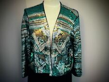 Jade green black gold Silver Sequin Bolero  Cruise Party Jacket Size Med SEQUINS