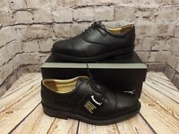 Mens Roamers Black Leather Capped Toe Lace Up Smart Oxford Shoes (M827A)