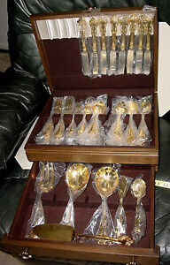 TOWLE STAINLESS GOLD TONE 8 PLACE SETTING 54 PIECE SET