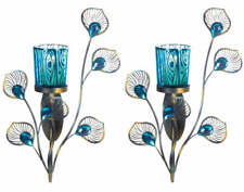 SET OF 2 PEACOCK INSPIRED SINGLE WALL SCONCE CANDLE HOLDER - NEW!