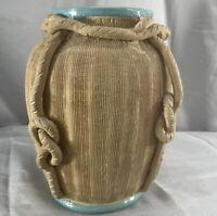 Vintage Handmade Ceramic Vase Urn Knot Detail Studio Pottery Art Deco MCM