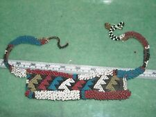"""old African glass bead bib necklace white blue red black greenish repair 20"""" max"""