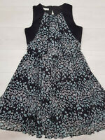 Ladies MONSOON A-Line Dress Size 16 Black Floral Lined Zip Sleeveless Knee Lengh