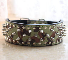 NEW Unisex Camouflage Leather Dog Collar Spiked Studded Pit Bull Terrier Bully