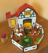 PLAYMOBIL FARM HOUSE STABLES 6927 95% COMPLETE (Horses,Animals)