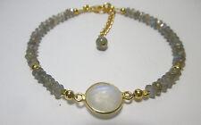 Labradorit und Mondstein Armband, 925 Silber vergoldet