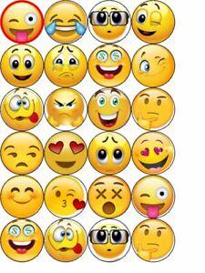 24 Emoji cupcake toppers  -icing or Wafer/ Rice Paper -Cupcake, cake, bun Topper