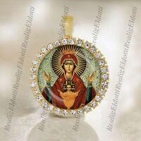 The Theotokos Virgin Orans, Oranta Religious Christian Orthodox Icon Gold Medal
