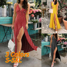 Plus Size Women V Neck Polka Dot Maxi Dress Ladies Beach Holiday Strappy Dresses
