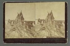 Niobrara NEBRASKA RPSV c1890 SIOUX INDIAN VILLAGE Camp Tepee DRYING MEAT Cross