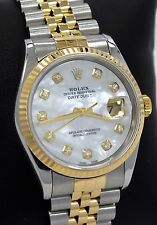 Rolex Datejust 16233 Jubilee 18K Yellow Gold & SS MOP Diamond Dial Watch *MINT*