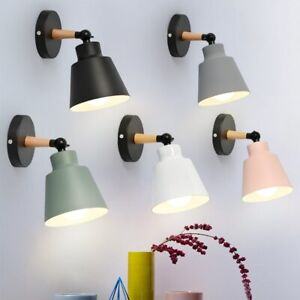 Modern Nordic Style Wood Minimalist Wall Lamps Bedside Light Lampshade Home Deco
