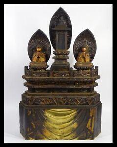 Japanese Old Buddha Statue 日蓮三尊仏 / W 38× H 57cm / Date: circa 1910-1930