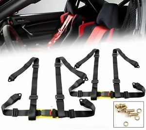 "2 x Black 4 Point 2"" W. Nylon Buckle Racing Seat Belt Harness For Subaru Mazda"