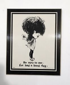 1970 Vintage Moppets Wall Decor BE NICE TO ME Black & White - Fran Mar Plaque