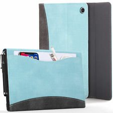 Apple iPad 10.2 2019 Case Cover Stand with Document Pocket - Sky Blue + Stylus