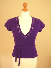 Whistles Size Small (UK 8/10/12) 100% Cashmere Jumper Top Purple Diamante Sequin