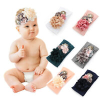 Soft  Hair Accessories Pearl  Turban Baby Headbands Nylon Flower Hairband