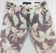 GUESS Skinny Ultra Low Floral Print Jean Pants Size 29 Junior's Multi-Color CUTE