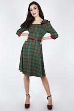Voodoo Vixen DRA8949 Lisle Forest Tartan Flare Dress Retro Vintage UK 6-16 New