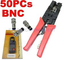 50pcs BNC Seal CCTV Compression Connectors Pro Tool with Cable Wire Stripper Kit