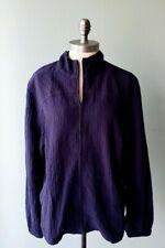 Orvis Womens Size Medium Navy Blue Zip Up Sweater Textured Lightweight F20