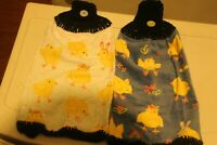 2 NEW HANDMADE CROCHETED top KITCHEN PLUSH TOWELS SPRING CHICKS CROCHTED BOTTOMS