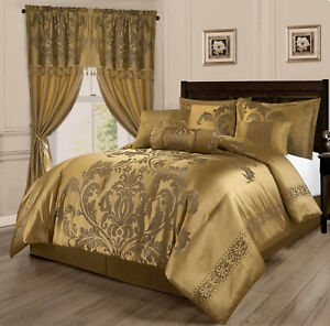 Deluxe Silky Gold Jacquard 7 pcs Comforter Cal King Queen set or Window Curtain