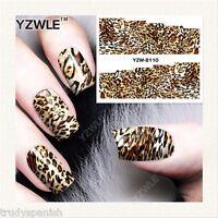 Nail Art Water Decals Wraps Brown Animal Leopard Print Spots Gel Polish (8110)