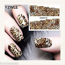 Nail Art Water Decals Wraps Brown Animal Leopard Print Spots Gel Polish (8110)