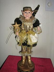 HOLIDAY CHRISTMAS ELF (DOLL) ON STAND SANTA HALLOWEEN NWT