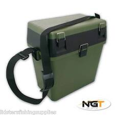 NGT GREEN SEAT TACKLE FISHING BOX WITH CARRY STRAP CARP COARSE BOAT FISHING