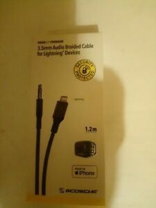 SCOSCHE   3,5MM  AUDIO  BRAIDED  CABLE  FOR  LIGHNTING DEVICES  IPHONE  LIFETIME
