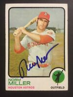 Norm Miller Astros Signed 1973 Topps Baseball High # Card #637 Auto Autograph 1