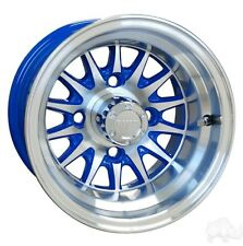 """GOLF CART 10"""" MACHINED/BLUE MEDUSA WHEELS/RIMS and 205/50-10 DOT LOW PRO TIRES"""