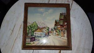 """7"""" x 7"""" handpainted tile set in wooden frame decor piece home decor  (f1)"""