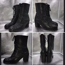 Vintage Sz 7 Black Leather Block Heel Victorian Style Lace Up Ankle Boots Wom