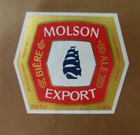 VINTAGE CANADIAN BEER LABEL - MOLSON SASKATCHEWAN, EXPORT BEER 341 ML