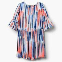 New Gymboree Girls Dress 14 Year Rayon Fun Stripes Orange & Blues Bell Sleeve