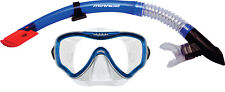 Mirage Adult Crystal Mask and Snorkel Set - clear silicone skirt - blue trim