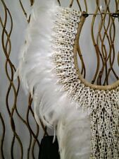 Papua Native Warrior necklace White feathers and white shells