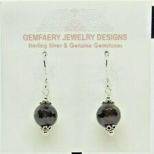 Sterling Silver Natural GARNET (Really Dark) Dangle Earrings...Handmade USA