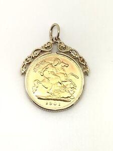 1901 Half Sovereign Pendant - Queen Victoria - Fancy Top Mount - 5.08g