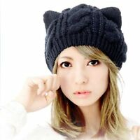 Black Slouchy Cap For Women Cute Cat Ear Stretchy Warm Cable Knit Beanie Hat