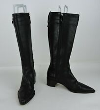 CHRISTIAN DIOR CD Logo Black Tall Leather Boots EURO Size 36 US Size 6 - Italy