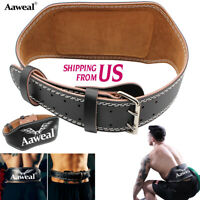"""6"""" Leather Weight Lifting Powelifting Belt Back Support Gym Fitness Training"""