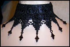 Chess BLACK Lace Victorian Gothic Collar Choker Medieval Wearable Art Tattoo 1