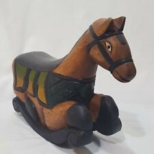 "Wooden Carved Rocking Horse Painted Pier 1 Mantel Figurine Brown Green 8"" Wood"