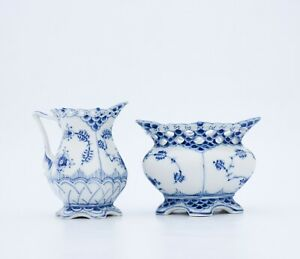 Blue Fluted #1032, #1113 Royal Copenhagen Large Sugarbowl & Creamer 1:st Quality