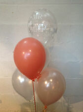 30 Mr & Mrs White Pearlised Balloons, Blush & Coral (Helium Quality)